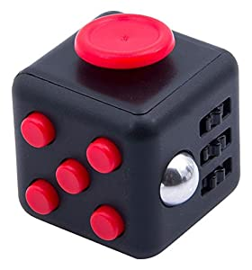 JuYi Fidget Toy Cube Relieves Stress and Anxiety for Children and Adults (Black/Red)