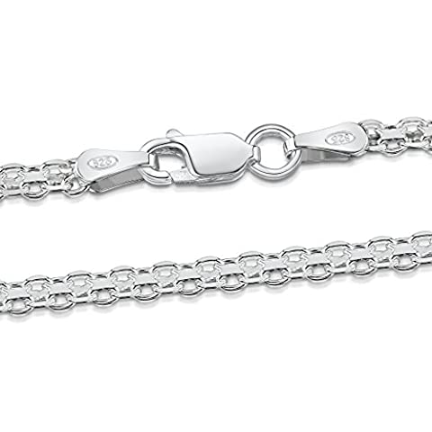 Amberta 925 Sterlingsilber Halskette - Bismarck Kette - 2.2 mm Breite - Verschiedene Längen: 40 (Diamante Aperte Croce Ciondolo)