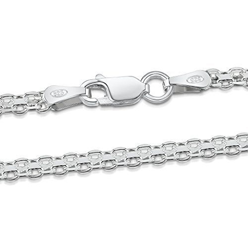 925 Sterling Silver 2.2 mm Bismark Chain Size: 16 18 20 22 24 inch / 40 45 50 55 60 cm