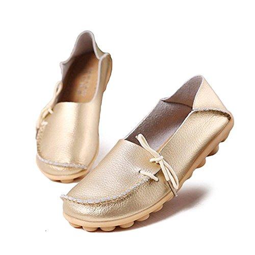 LEIT YFF Femme Chaussures Plates Occasionnels Lace-Up Chaussures en Cuir Véritable gold