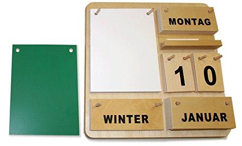 Dauerkalender Creativ D aus Holz 35 x 35 cm mit Block, Tafel, Holzablage und Kreide (deutsche Ausführung) Weitere Sprachen auf Anfrage