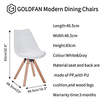 GOLDFAN Wood Dining Room Set Eiffel Dining Table and Chairs Set 4 Modern Round Kitchen Table PU Leather Soft Chairs,White