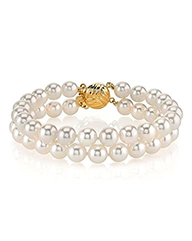 14K Gold 7.0-7.5mm Japanese Akoya White Cultured Pearl Double Bracelet - AAA Quality