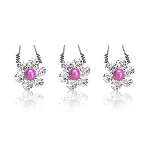 Haarnadeln Set mit Perlen Strass Blume Kristalle Hochzeit Braut Haarschmuck Kommunion Duttnadeln Haarpins Blütenhaarschmuck silbe pink 6er...