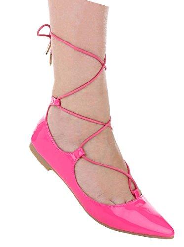 Damen Pumps Schuhe Elegant High Heels Mit Schnürung Pink