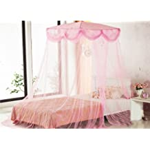Rosa cuatro esquinero con bordes protegidos diseño de princesas Disney cuadrado para camas con dosel de Sid