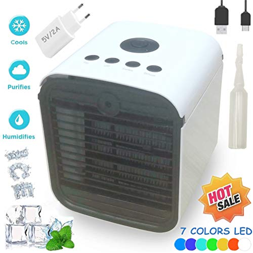 Climatiseur Mobile Air Mini Cooler - Rafraichisseur d'air & Ventilateur, 3-en-1 Portable Climatiseur Humidificateur Purificateur, Leakproof, New Filter Paper (3 Generation + Adaptateur)