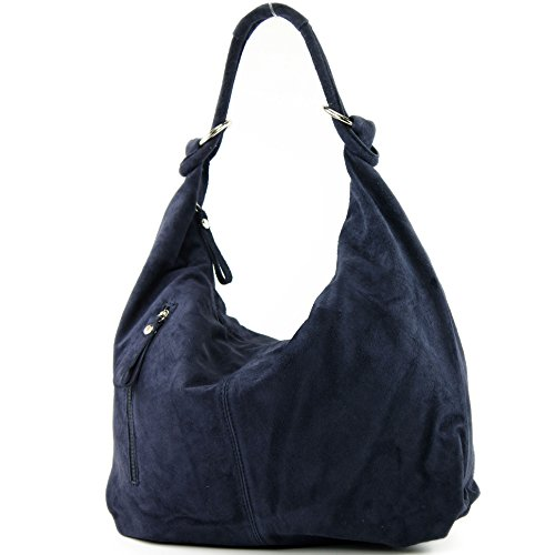 modamoda de - ital. Ledertasche Damentasche Hobo Bag Schultertasche Wildleder Groß T158, Präzise Farbe:Dunkelblau (Handtasche Italienische Leder)