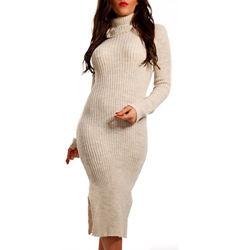 Made Italy - Robe - Crayon - Uni - Manches Longues - Femme Beige