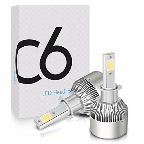 LED Scheinwerfer Glühlampen, Mesllin C6 H3 Auto Kopf Lampen Umbausätze Ersatz für Auto Halogen HID Xenon 120W 20000LM 6000K Weiß Lampen, 60W / Birne, COB Chips, 3 Jahre Garantie (H3)