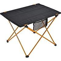 Mesa de picnic plegable portátil, mesa plegable de aluminio, ligera, para pesca, senderismo, picnic, para picnic, cocina, camping, playa, negro