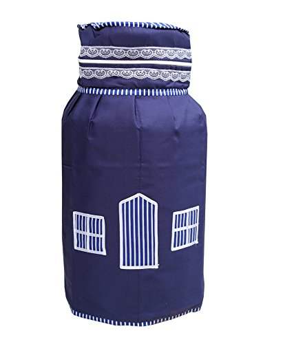 Kuber Industries Quilted Cotton Cylinder Cover - Blue, 3 Layered