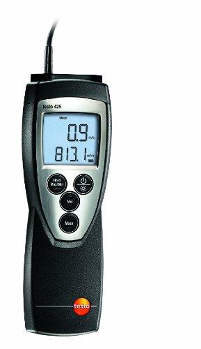 Testo 0560 4251 425 kompaktes thermisches Anemometer mit fest angeschlossener Strömungssonde, inklusive Temperaturmessung und Teleskop