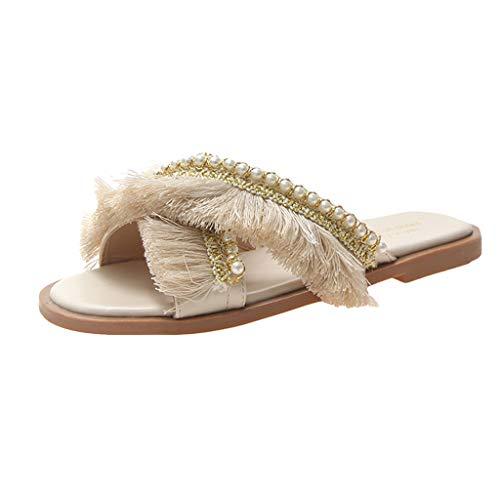 HEETEY Herrenhausschuh, New Classic Fransen Perle Hausschuhe Sommer Outdoor Fashion Sandalen Frauen Schuhe Atmungsaktiv Hausschuhe Mesh Schuhe Schlappen Beach Slip on Sandalen - Herd-bereich Tops