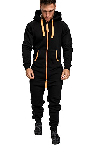 Amaci&Sons Herren Overall Jumpsuit Jogging Onesie Trainingsanzug Camouflage 3004 Schwarz/Orange M
