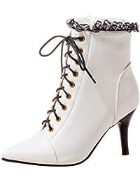 RBNB Chaussure Femme Talon Stiletto à Talons Pointed Bottes Automne d hiver  Bottes Classiques Rétro Bottes Fille… 3e56336467f