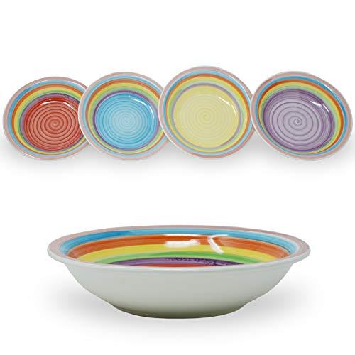 DRULINE 4er-Set Suppenteller 21,5 x 5,5 cm (Gelb, Blau, Lila, Rot)