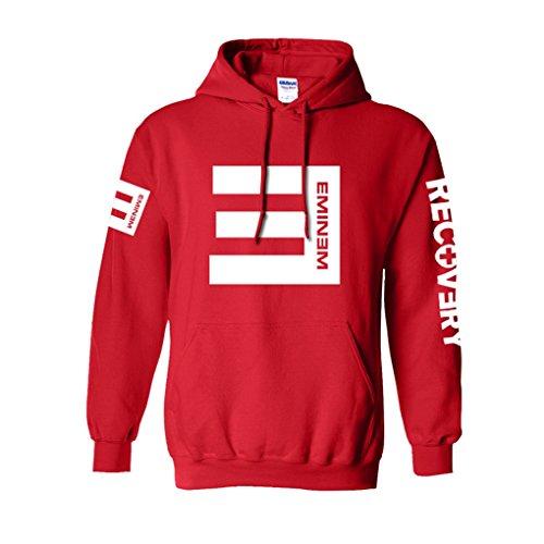 Cosdaddy / Eminem Hip Hop Sweater Hoodie Kapuzenpullover Schwarz Cosplay Kostüm (S, Rot)