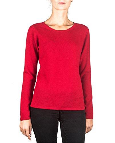 Roter Kaschmir-pullover (100% Kaschmir Damen Pullover | Sweater Rundhalsausschnitt 2-fädig (Rot, M))