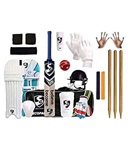 SG Full Cricket Kit with Ezeepak Bag with Stumps (Size 4(Ideal for Age Between 8 to 9 Year).)
