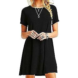Znystar Mujeres Verano Vestido de camiseta Suelto Casual Cuello Redondo Mangas cortas Vestidos (S, Negro)