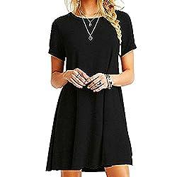 ZNYSTAR Frauen Sommer lose kurze Ärmel Casual Kleid Blusen Kleid lose Tunika Casual T-Shirt Kleid (M, schwarz)