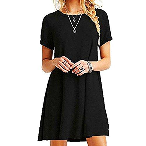 ZHANGNA Mujer Suelto Casual Vestido de la Camiseta (Negro)