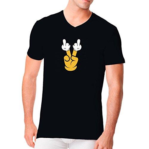 Fun Sprüche Männer V-Neck Shirt - Fun Shirt Doppelter Stinkefinger by Im-Shirt Schwarz