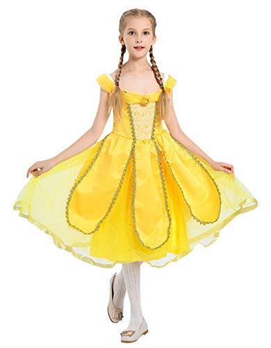 Von Oz Kostüm Der Zauberer Süße - GIFT TOWER Prinzessin Kostüm Mädchen Kinderkostüm für Halloween Fasching Karneval Cosplay Bekleidung Gelb XL/Länge 95cm