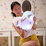 MMRM 'I Love You' cojín–LED luces 7cambio de color Forma de C & # x153; ur suave de peluche para sofá coche color blanco