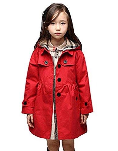 FAIRYRAIN Mädchen Kids/Teens Kinder Jacke Trenchcoat Outwear Mantel mit abnehmenbarer Kapuze (Größe 110 (Höhe: 105-115, Alter 4-5), Rot-Kariert) (Trenchcoat Teen)