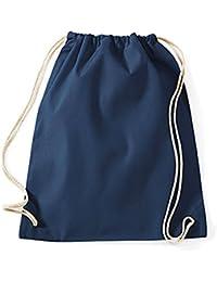 Turnbeutel unbedruckt aus Baumwolle 12 Farben verfügbar Sportbeutel (french navy)