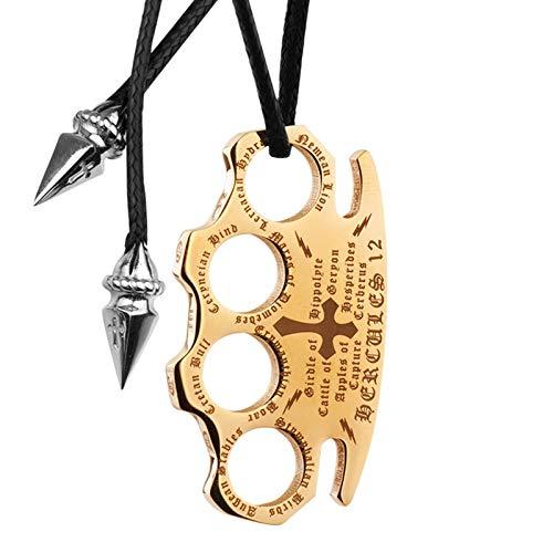 Beydodo Halskette mit Anhänger Herren Kreuz Geometrie Hip Hop Titan Kette Partnerkette Gold