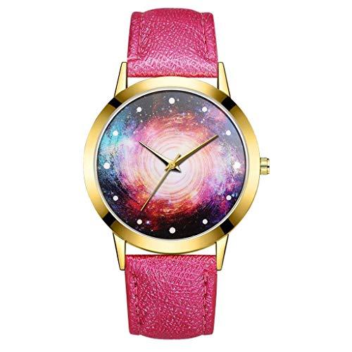 WZFCSAE Herren Uhr Mode reloj Hombre Universum Schwarz Loch Leder Gürtel Uhr Damen Quarzuhr Mann