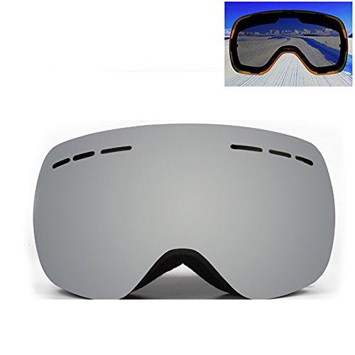 LYLhmj Skibrille Ski-Schutzbrillen Snowboard Brille Outdoor-Sport Snowboard-Schutzbrillen Anti-Nebel UV-Schutz winddicht Doppel-Objektiv Snowboardbrille für Motorrad Fahrrad Skifahren Skaten (Silberner Rahmen)