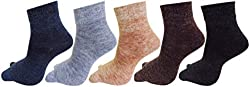 RC. ROYAL CLASS Soft Woolen Ankle Thumb Socks For Women (Pack of 5 Pairs)