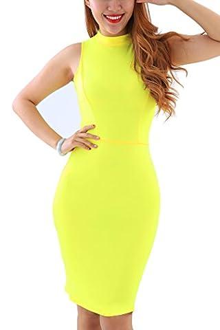 YMING Women Cocktail Dress Strech Bodycon Sleeveless Summer Dress Sexy Hollow-Out Design Clubwear,Yellow,XL