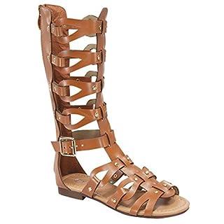 Link Atta 07K Little Girls Strappy Gladiator Comfort Flat Sandals Tan,Tan,1