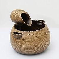Fuente de mesa fuentes de cerámica Fuente de escritorio de la sala de agua Fuentes Decoración humidificador Oficina fuente de escritorio decoración del hogar de escritorio (Color: Con la atomización)