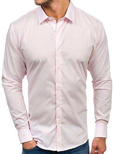 feff9e0d4ba340 Bolf Herren Hemd Elegant Langarm Farbwahl Knopfleiste Casual Style 2B2 MIX  Rosa TS100