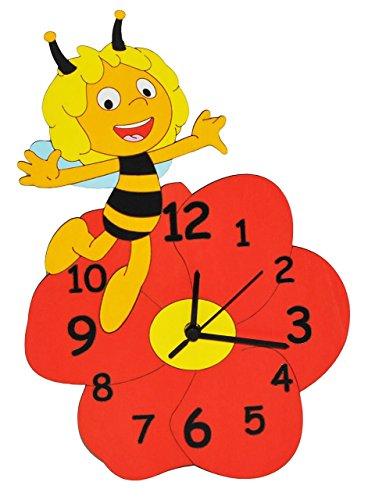 Preisvergleich Produktbild alles-meine.de GmbH Wanduhr - die Kleine Biene Maja - lautlos - Uhr aus Holz - für Jungen Mädchen Kinder / Kinderzimmer Kinderuhr Uhren Quarz Bienen Honigbiene