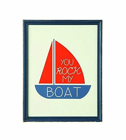 Creative Co-Op Wood Framed You Rock My Boat Wall Decor