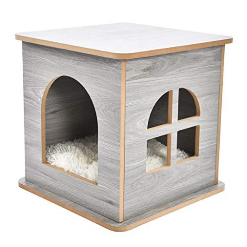 Hundehütte Im Freien, Haustierbett Katzennest Zuhause Lieferungen Schemel Zuhause Aktie Chat Hide Scratch Curve Hölzern Zimmer (Color : Gray)