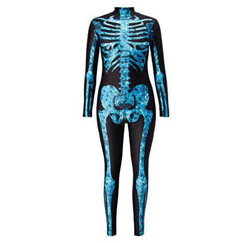 RAISEVERN Adulte Unisexe Combinaison Squelette Fancy Dress Up Party Halloween Costume Medium