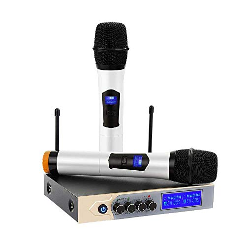 Micrófonos Inalámbricos Karaoke Micrófono bluetooth con 4.1 Dual Canal y UHF Receptor,Equipo Karaoke Cable Jack 3.5mm y 6.35mm Micrófonos de Mano para Cantar,Bar,Karaoke,Boda,Fiestas, Reunión,Hogar