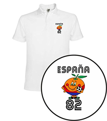 The Fan Tee Polo de Hombre Divertidas Naranjito 82 Mundial España Futbol Deporte Retro L Blanco