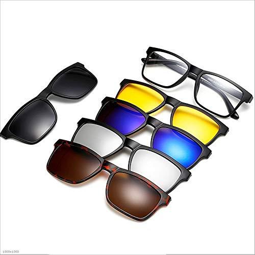 Yiph-Sunglass Sonnenbrillen Mode Retro-Stil Sonnenbrillen mit 5-teiligen austauschbaren Linsen für Männer Frauen Strand Sonnenbrillen