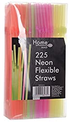 Home Maid Neon Flexible Straw - 225 Pieces