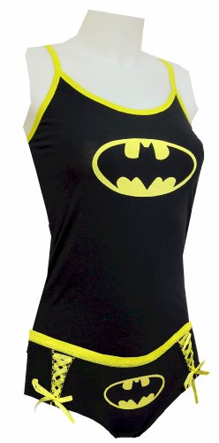 WebUndies DC Comics Batman Logo Glow in the Dark Cami Tank and Panty Set (Juniors Small)