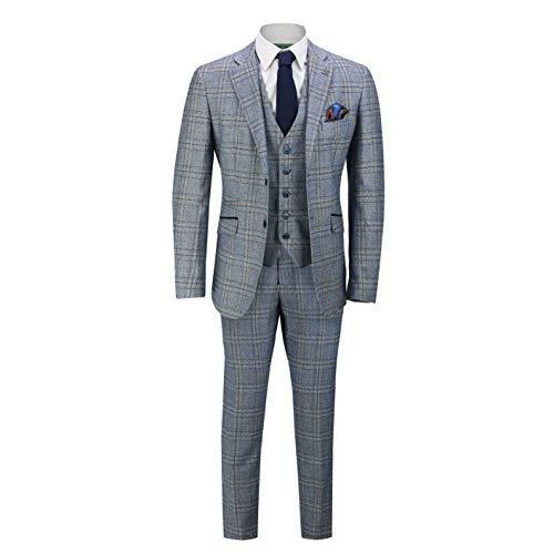 54r-anzug (Cavani Herren Brendan 3-teiliger Anzug, Blau & Wein (Blau, EU 54R Brustumfang/EU 48R Bundumfang))
